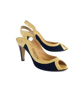 Salvatore Ferragamo Navy Nude Peep Toe Pumps