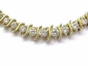 Fine Ladies Graduated Diamond Necklace Yg 14kt 5.00ct