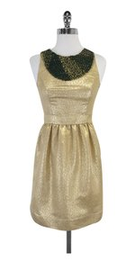 Shoshanna short dress Gold Embellished Sleeveless on Tradesy