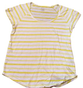 Lands' End T Shirt Yellow and white