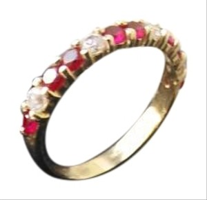 LoveBrightJewelry Created Ruby and Cubic Zirconia Ring 14K Gold 2.00 CT
