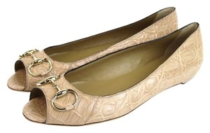 Gucci Crocodile Ballet Gold Nude Pink Flats