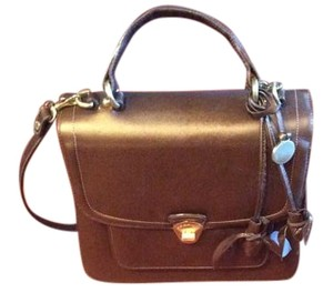 Brahmin Satchel in Deep brown/hint of metallic