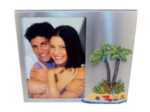 "Silver Tropical Island Theme 3d Desktop Photo Frame 4"" X 6"" - Brushed Metal. Other"