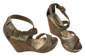 Steve Madden Cork Gold Sparkle Wedges
