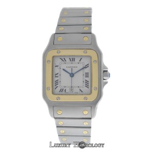 Cartier Mint Men's Unisex Cartier Santos Galbee 1566 Quartz Steel & 18K Gold