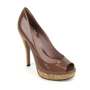 Gucci Patent Leather Cork Platform Mauve/ Pink Tan Pumps