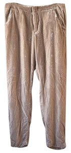 Free People Flowy Velvet Soft Straight Pants Tan