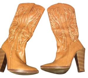 Charlotte Russe Cowboy Boot Heeled Boot Cognac Boots