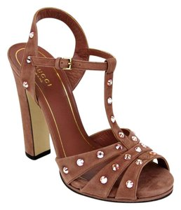 Gucci Jacquelyne Crystal Desert Rose Sandals