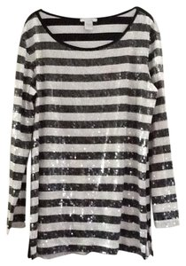 Joan Vass Stripes Sequins Tunic