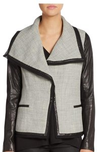 Vince Leather Boucle Boucle Lambskin Leather Gray/Black Leather Jacket