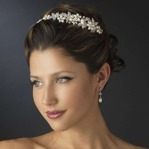Elegance by Carbonneau Silver/Ivory Pearl and Rhinestone Floral Side Accent Headband Tiara
