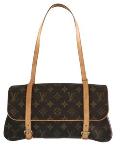 Louis Vuitton Brown Leather Clutch Monogram Shoulder Bag