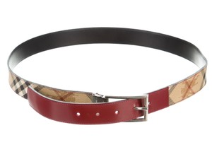 Burberry Beige, brown, red multicolor Burberry Haymarket plaid belt L Large