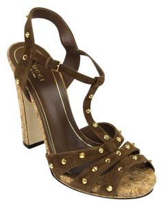 Gucci Jacquelyne Studs Suede Brown Sandals