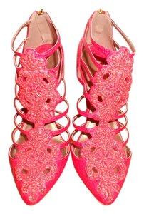 Christian Siriano Bootie Caged Beaded Coral Red Boots