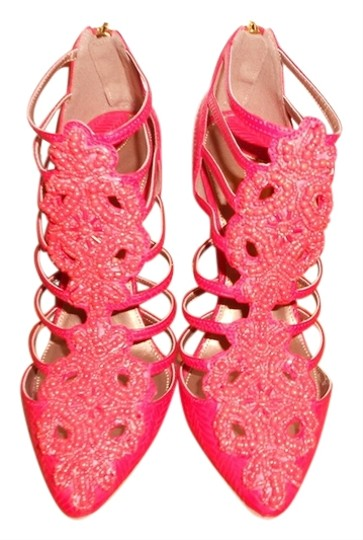 Christian Siriano Caged Beaded Coral Red Boots