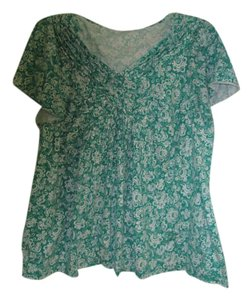 blouse Top White and Green