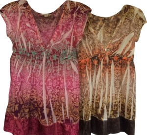 Forever 21 Top SET OF 2 - Red & Brown Floral