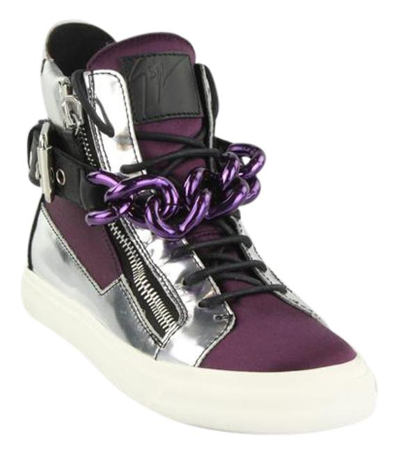 Item - Silver Purple and Black Chain High Top Sneakers Size EU 38 (Approx. US 8) Regular (M, B)