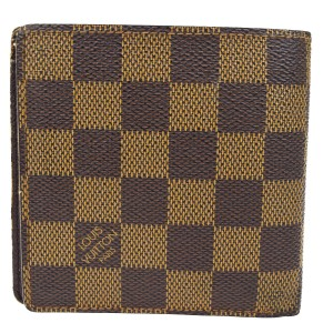 Louis Vuitton LOUIS VUITTON Bifold Wallet Purse Damier Leather Brown N61665 Mens
