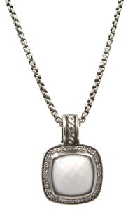 David Yurman David Yurman Albion White Agate Diamond Pendant Necklace