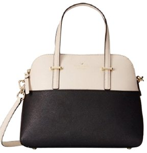 Kate Spade Cedar Maise Black Satchel in Black/Pebble