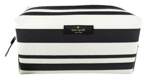 Kate Spade Kate Spade WLRU2722 Medium Striped Cosmetic Case Black White