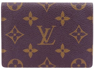 Louis Vuitton Vertical Bifold Pass ID Card Case Monogram Brown M60533 Mens