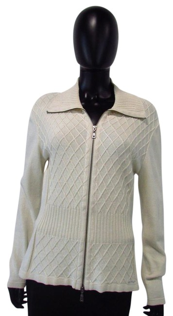 Item - Zip Up Cardigan Lattice Front and Ribbed Collar Cream Sweater