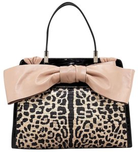 Valentino Python Patent Leather Bow Tote in Black Leopard