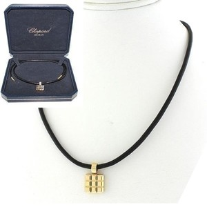 Chopard Chopard Black Leather Strap 18k Gold Ice Cube Pendant Choker Necklace