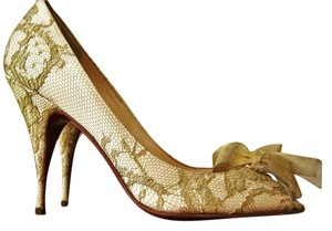 Christian Louboutin Peep Toe Heels Lace Gold Pumps