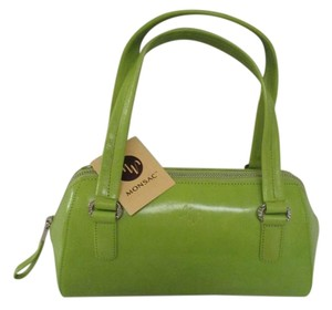 Classic Design Leather Satchel in Vibrant Green