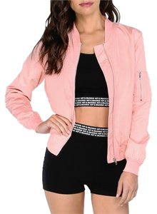 Romwe Gold Bomber Zip Fall Spring Pink Jacket