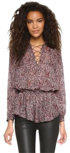 Rebecca Minkoff Top North Lace Up Peplum Blouse