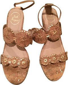 Jack Rogers Cork with Gold Trim Wedges