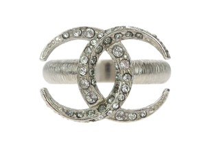 Chanel 15C Silver Crystal CC Moon Ring