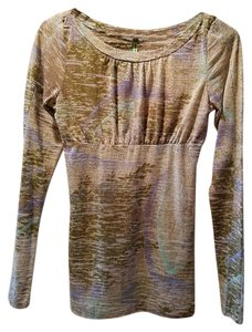 Free People Green Brown Blue Long Sleeve T Shirt Multi
