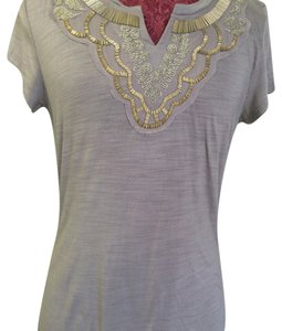 Banana Republic Embellishment Beaded T Shirt Off White w/Beading