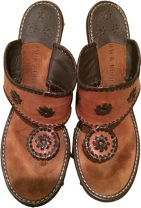 Jack Rogers Tan and Dark Brown Trim Wedges