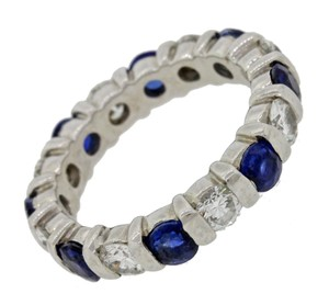 Other Platinum 2.4ctw Diamond Sapphire Eternity Wedding Band Ring