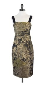 Kay Unger short dress Gold Metallic Brocade Sleeveless on Tradesy