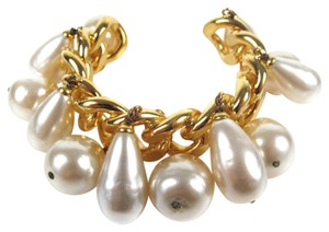 Chanel GIANT PEARL CHAIN CUFF XL GOLD CHARM BANGLE BRACELET BEAD CC VINTAGE