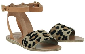 Ancient Greek Sandals Leather Fur Pony Leopard Sandals