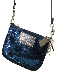 Coach Sequin Poppy Glam Satchel in Blue