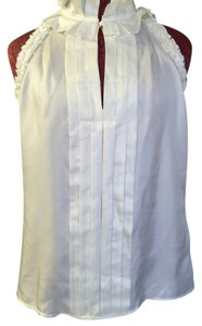 Banana Republic Ruffle Pleated Silk Top White