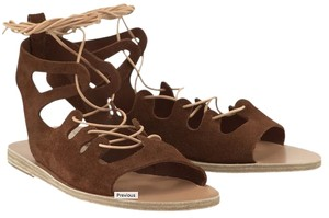 Ancient Greek Sandals Suede Leather Brown Crosta Tobacco Sandals