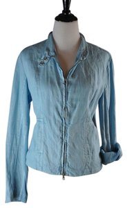 Theodore Beverly Hills Cotton Linen Spring Turquoise Jacket